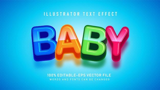 Efeito de estilo de texto colorido bebê