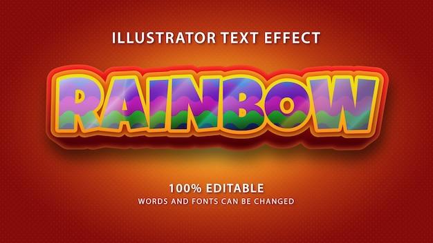 Efeito de estilo de texto de arco-íris, texto editável