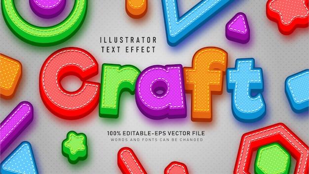 Efeito de estilo de texto de artesanato colorido