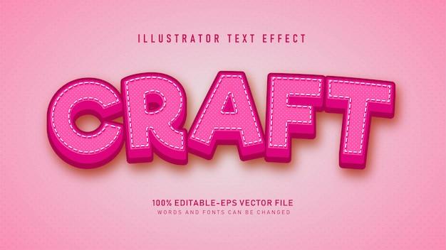 Efeito de estilo de texto de artesanato rosa