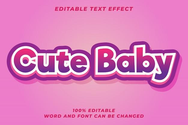 Efeito de estilo de texto de bebê fofo