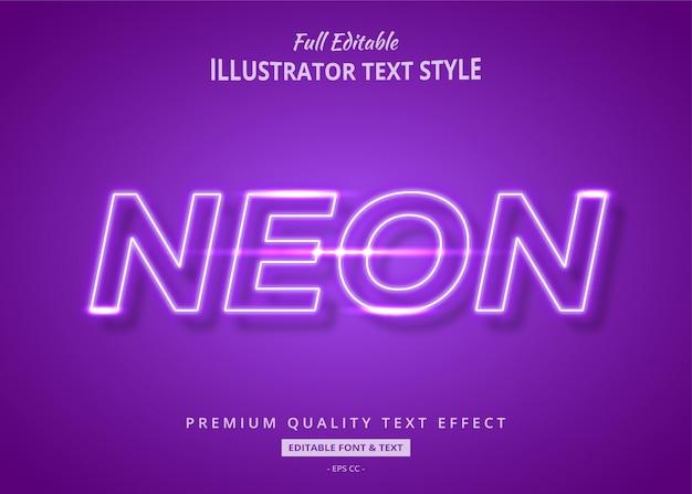 Efeito de estilo de texto de brilho roxo neon premium