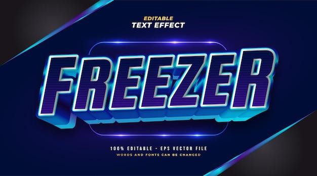 Efeito de estilo de texto de congelamento azul. efeito de estilo de texto editável