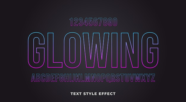 Efeito de estilo de texto de contorno brilhante com gradiente de várias cores