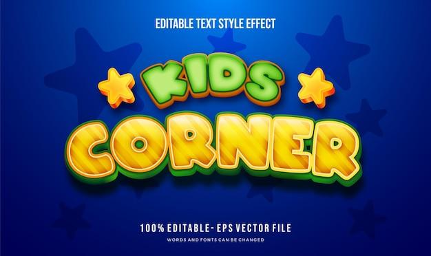 Efeito de estilo de texto de crianças. fontes de alteração editáveis.