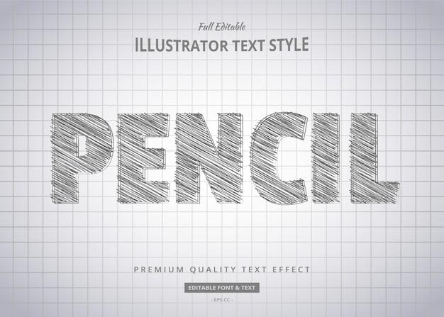 Efeito de estilo de texto de desenho a lápis