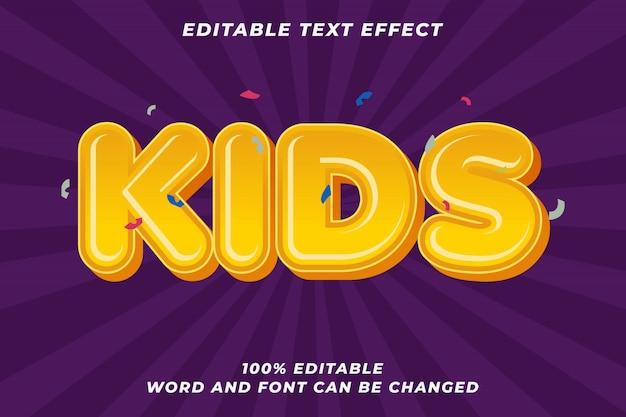 Efeito de estilo de texto de desenho animado de crianças