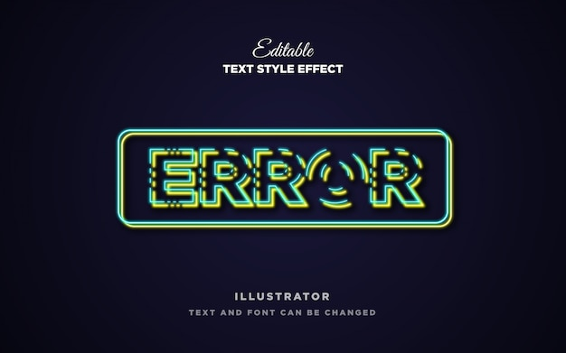 Efeito de estilo de texto de faixa neon