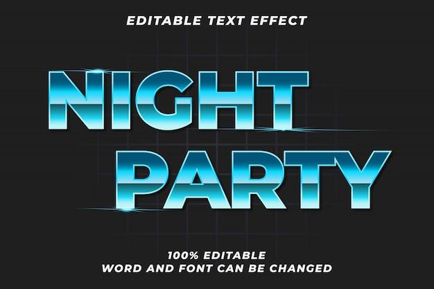 Efeito de estilo de texto de festa à noite
