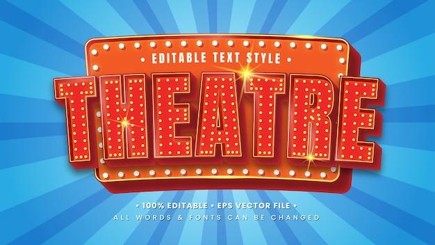 Efeito de estilo de texto de filme de teatro 3d. estilo de texto editável do ilustrador.