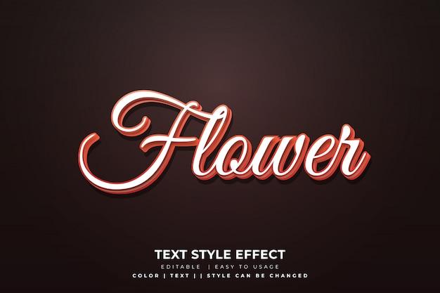 Efeito de estilo de texto de flor 3d com gradiente laranja