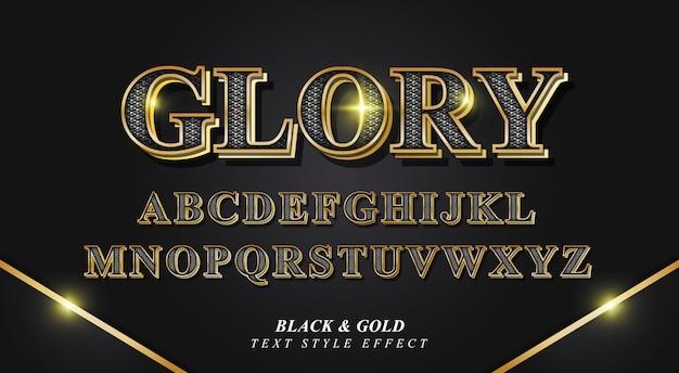Efeito de estilo de texto de glória 3d com textura e bordas douradas