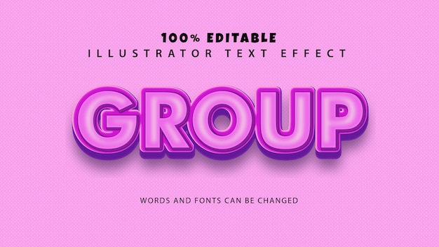 Efeito de estilo de texto de grupo, texto editável