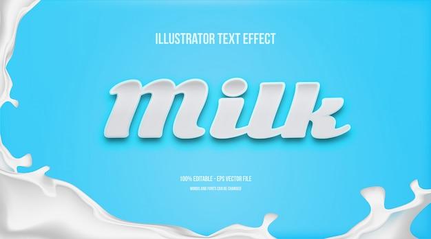 Efeito de estilo de texto de leite