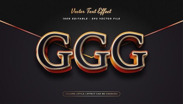 Efeito de estilo de texto de luxo realista com efeito em relevo no conceito preto e dourado