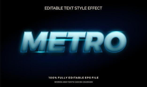 Efeito de estilo de texto de luz azul futurista. fonte editável