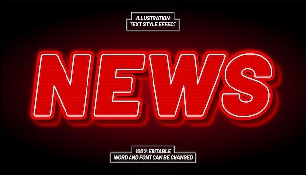 Efeito de estilo de texto de luz vermelha de notícias
