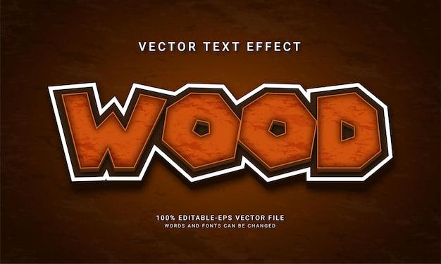 Efeito de estilo de texto de madeira 3d com tema textura de madeira da floresta