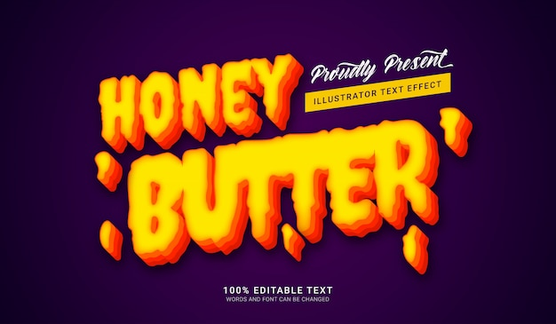 Efeito de estilo de texto de manteiga de mel. efeito de texto editável