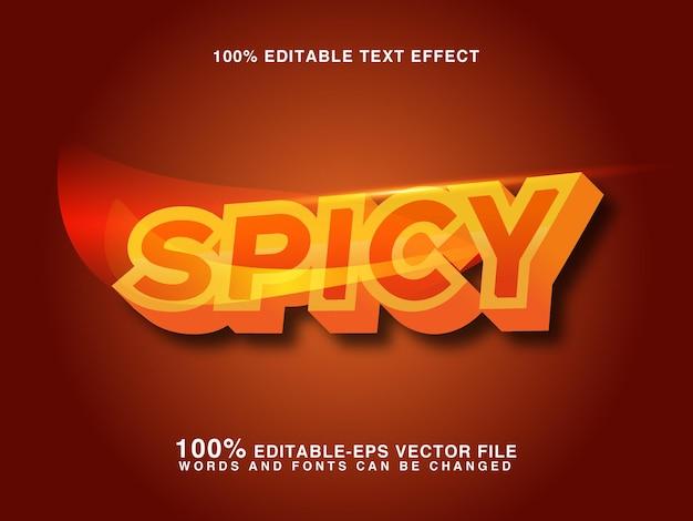 Efeito de estilo de texto de maquete de fogo picante 3d vector premium