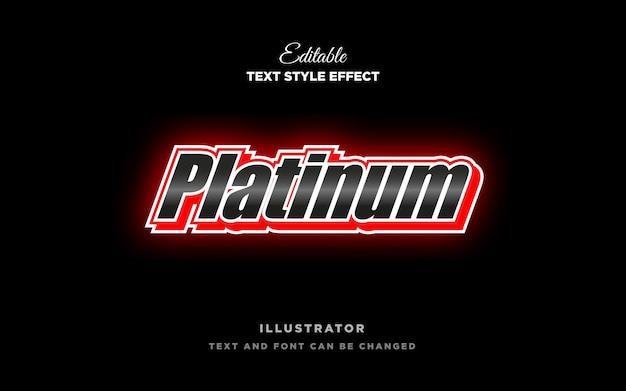 Efeito de estilo de texto de metal platinado