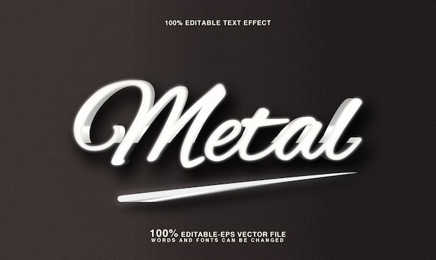Efeito de estilo de texto de metal prateado 3d