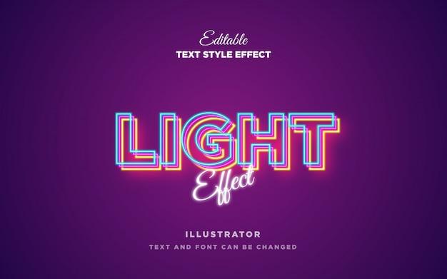 Efeito de estilo de texto de néon claro