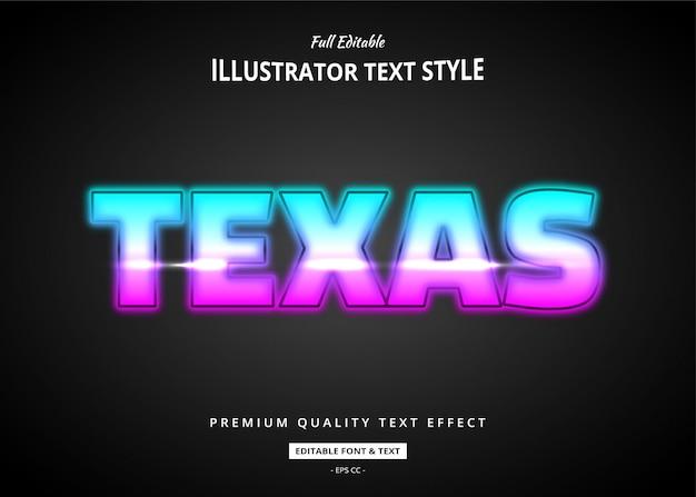 Efeito de estilo de texto de néon do texas