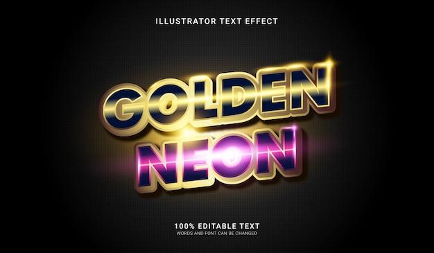 Efeito de estilo de texto de néon dourado. efeito de texto editável