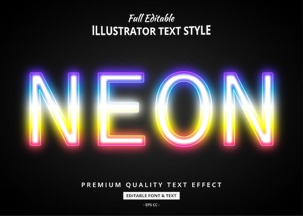 Efeito de estilo de texto de néon gradiente