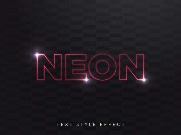 Efeito de estilo de texto de néon vermelho com conceito linear