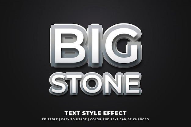 Efeito de estilo de texto de pedra 3d