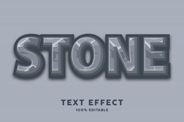 Efeito de estilo de texto de pedra dos desenhos animados 3d