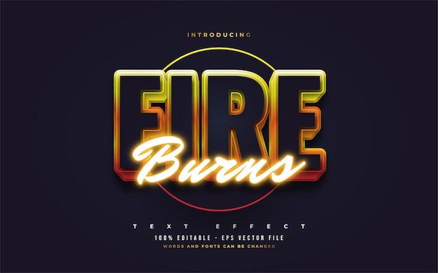 Efeito de estilo de texto de queimaduras de fogo. efeitos de estilo de texto editáveis