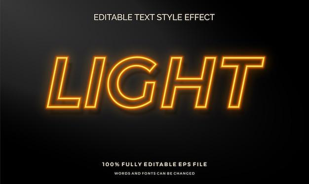Efeito de estilo de texto de sinal de parede de luz neon. fonte editável