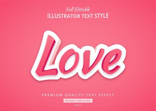 Efeito de estilo de texto de sombra 3d amor premium