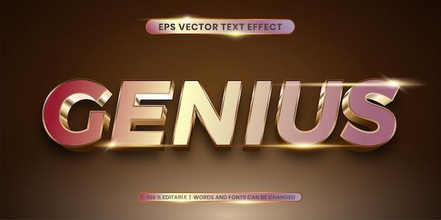 Efeito de estilo de texto de sombra de ouro gênio