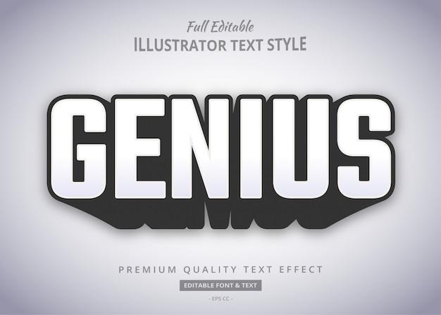 Efeito de estilo de texto de sombra em negrito gênio