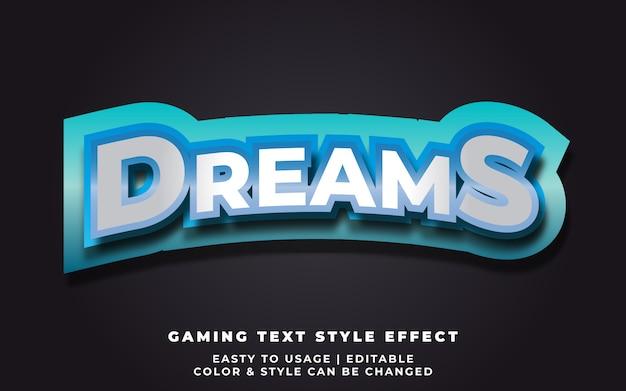 Efeito de estilo de texto de sonhos 3d para identidade de equipe de esporte eletrônico