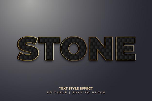 Efeito de estilo de texto de textura de pedra 3d com bordas douradas