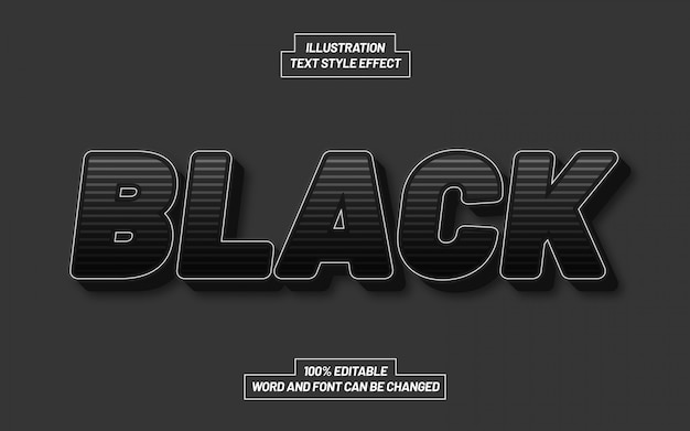 Efeito de estilo de texto despido de luz negra
