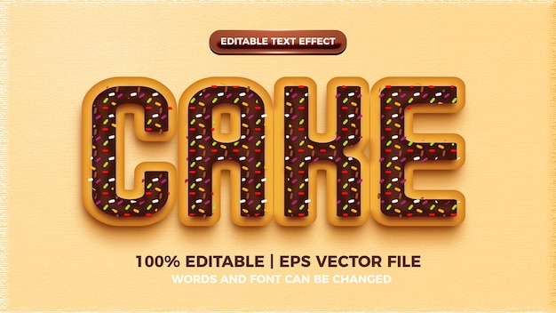 Efeito de estilo de texto do bolo editável