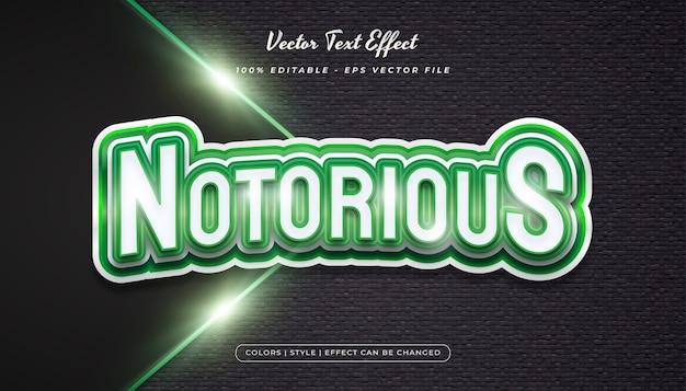 Efeito de estilo de texto do jogo em conceito realista de branco e verde