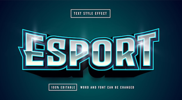 Efeito de estilo de texto do logotipo azul mint esport gaming
