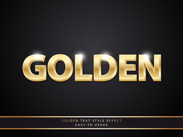 Efeito de estilo de texto dourado 3d com gradiente brilhante