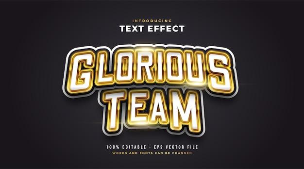 Efeito de estilo de texto e-sport glorioso em branco e dourado. efeito de estilo de texto editável
