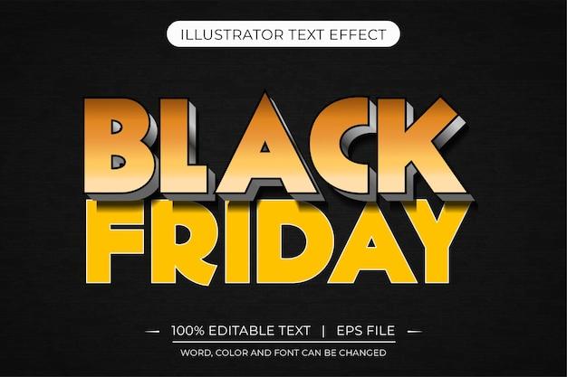 Efeito de estilo de texto editável 3d abstrato amarelo preto sexta-feira