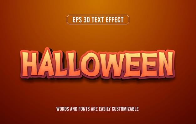 Efeito de estilo de texto editável 3d assustador de laranja do dia das bruxas