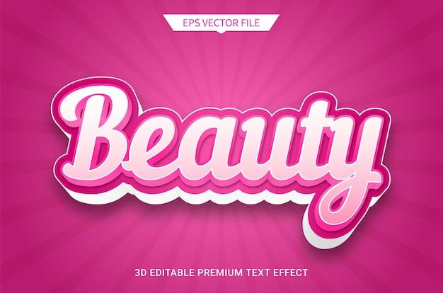 Efeito de estilo de texto editável 3d beauty rosa