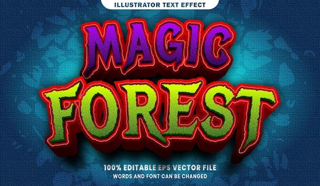 Efeito de estilo de texto editável 3d da floresta mágica